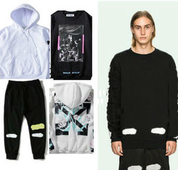 Wholesale Women Gray Jacket - OW 2017 Men Hoodies Jacket OW T shirt Pants Men Women High Quality Kanye West Abloh Virgil Hoodie Sweatshirt Pullover