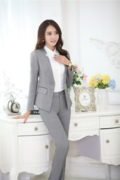 Wholesale Ladies Business Trousers - Wholesale-Novelty Grey Formal Pantsuits Uniform Design Professional Business Suits Jackets And Pants Ladies Office Trousers Clothing Sets