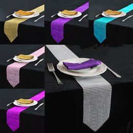 Wholesale Diamond Table Runners - 12 X 275cm Luxury Shiny Crystal Diamond Table Runner For Wedding Party Banquet Table Centerpieces Decoration Supplies 6 Colors Available