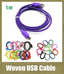 Wholesale Galaxy Note2 Charger - usb cable 3FT USB Braided Data Sync Charging Cable Fiber Knit Woven Charger Cord For Smartphone samsung galaxy s3 s4 s5 note2 HTC CAB007