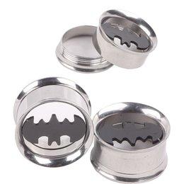 Wholesale Batman Ear Plugs - Batman 316L Stainless Steel Flare Ear Plug 60pcs Mixed 6 sizes Ear Flesh Tunnel Fit Expander Piercing Earring Gauges Kits