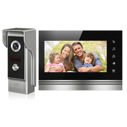 Wholesale Wired Video Intercom Doorbell Systems - FREE SHIPPING NEW 7 inch Color Screen Video Door Phone Intercom System Touch Key Monitor + Night Vision Outdoor Doorbell Camera