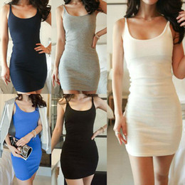 Wholesale Tight Black Slimming Sexy Dress - 2014 New Summer Plug Size M,L,XL Sleeveless Strap Dress Sexy Tight Fitting Suspender Slim One Piece Dress WF-007 Free Shipping