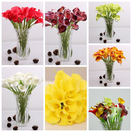 Wholesale Mini Flower Bouquets - Bride Flowers 8 Colors PU Real Touch Yellow Mini Calla Lily For Wedding Bouquet Free Shipping