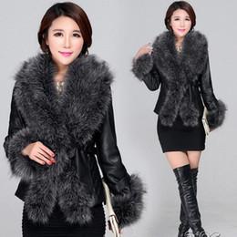 Wholesale Big Coat Belts - New Women Autumn Winter PU Leather Splice Fox Fur Jacket Coat Fashion Big Fur Collar Elegant Luxury Workwear Fur Jacket V688