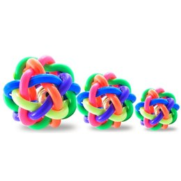 Wholesale pet toy rubber ball - Round Pet Ball Toy Colorful Weaving Twist Rubber Balls Non Toxic Safe Dog Chew Toys High Quality 4 26hz B