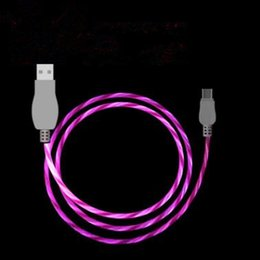 Wholesale Usb Flash Data - 1M 3ft LED Flowing Type C Flashing Light Micro USB Charging Cable Cords Data Sync For Samsung Huawei Universal Android Line