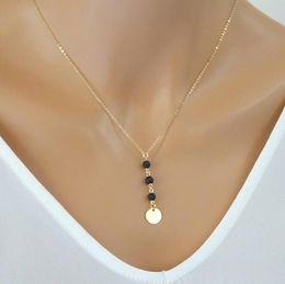 Wholesale 14k Choker - Fashion Lava-rock Round Bead Tassel Pendant Necklaces Aromatherapy Essential Oil Diffuser Necklaces Natural Black Lava Chokers