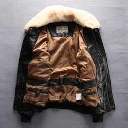 Wholesale Avirex Leather Jacket Xl - Lamb fur collar Black Avirex fly men leather jackets flight suit jacket 100% genuine sheepskin leather
