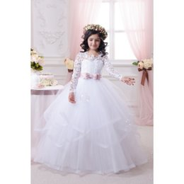 Wholesale Gold Trim Ribbon - Fashion White   Ivory Ball Gown Flower Girls Dresses For Weddings With Long Sleeves Lace Tulle Bowkont Trimmed 2016 First Communion Dress