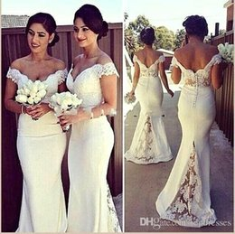 Wholesale Elastic Back Bridesmaid Dress - 2017 Elegant Long Formal Bridesmaid Dresses Cheap Lace Topped Off Shoulders Mermaid Sweep Train Button Back Bridesmaid Dresses