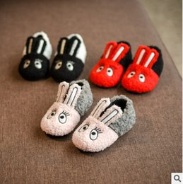 Wholesale Cow Fleece - Winter Kids velvet warmer shoes girl long ear rabbit toddler shoes winter baby girls cute animal embroidery fleece casual shoes R0915