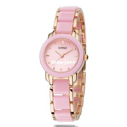 Wholesale Kimio Watch Women - Box Packing Brand Hot Fashion Eyki Kimio 2014 Ladies Ceramic Luxury Bracelet Watches Golden Rose watch women free shipping