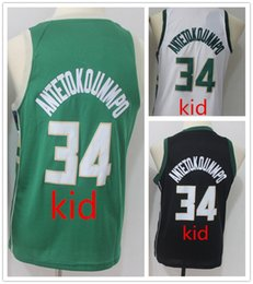 Wholesale Basketball Jersey Kids - 2018 kid 34# Giannis Antetokounmpo Jersey Antetokounmpo Youth 100% Stitched Logos Basketball Jerseys Kids Black Blue Gree Jerseys
