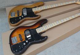 Wholesale Signature Bass - Nature Wood Color   Sunburst Marcus Miller Signature 4 String Jazz Bass Electric Guitar Nature Wood 9V Active Amplifier Circuit
