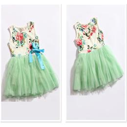 Wholesale Princess Gowns For Infant - girl dress 2016 summer floral baby girl dress princess tutu dress 3 color for 2-5 age infant dresses kids clothing