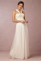 Wholesale Chart Yellow Clothes - BHLDN Bridesmaid Dresses A-line Halter Neck Backless Sweetheart Women Clothes Floor Length Chiffon Gown For Maid Of Honor