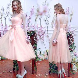 Wholesale Net Tulle Bridesmaid Dresses - Tea length bridesmaid dresses custom made lace Net Tulle Bows A Line One Shoulder Hand Made Flower bridesmaid dresses cheap 5404