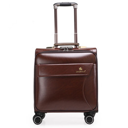 Wholesale Brown Leather Luggage - 16 inches leather Trolley Luggage, Vintage Suitcase, brown boarding package, Business Travel Bags Men Women Plural colors
