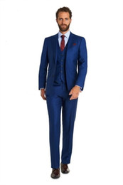 Royal blue tuxedos schwarze satin revers online-2016 schöne Männer Anzüge Großhandel - Royal Blue Custom Black Satin Revers One Button Anzug Bräutigam Smoking Groomsman Kleid (Jacke + Pants + Weste)