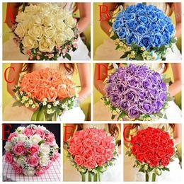 fã de ouro rosa Desconto QUENTE! Belo casamento buquê favores do casamento perfeito noiva mão segurando flores artificiais flores adorno de seda