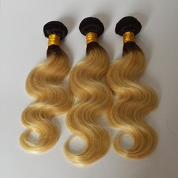 Wholesale Two Tone Remy Human Hair - Ombre Body Wave Brazilian Human Hair Bundles T1b 613 Two Tone Virgin Remy Hair Weaves Dark Root Blonde Double Weft Extensions 10-30 inch