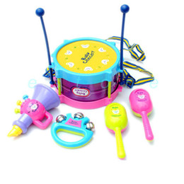 Wholesale Musical Instruments Set Kids - 5pcs set Roll Drum Musical Instruments Band Kit Kids Children Toy Gift Set New