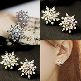 Wholesale Earring Snowflake Silver - Luxury Accessories Snowflake Crystals Stud Silvery Diamante Earrings Gifts for Women P-35