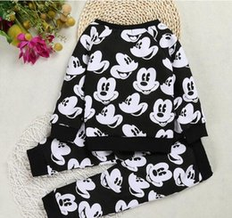 Wholesale Leggings Girl Month - new Mickey Mouse cartoon Two Pieces Children Outfits Sets leggings pants wholesale baby kids boys clothing girls clothes long sleeve 82