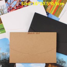 Wholesale White Greeting Cards Envelopes - Wholesale- 50pcs lot-16*10.5*0.5cm Blank Black White Kraft Paper Envelope Postcards Greeting Card Cover Photo Packaging Boxes