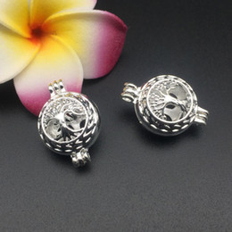 Wholesale Tree Life Locket Pendant - Pearl cage necklace pendant, essential oil diffuser, tree of life provides a silver 10pc - plus your own pearl makes it more attractive