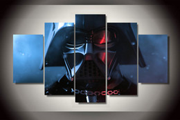 Wholesale Group Oil Paintings - 5 Panel Framed Printed star wars darth vader maska 5 piece Group Painting room decor print poster picture framed canvas painting