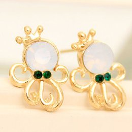 Wholesale Octopus Jewelry Earrings - 24pairs lot Romantic Ocean Octopus Style Earrings Beach Jewelry Rhinestone Crown Ladies Pearl Ear Studs je025
