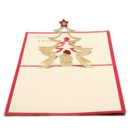 Wholesale laser cut greeting cards - Cute Christmas Snowman Nativity Design Christmas Cards 3D Laser Cut Pop Up Paper Birthday Gifts Postcards Custom Greeting Cards