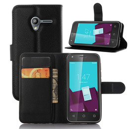Wholesale News Arrival Lychee grain wallet PU leather case with card holder stand For Vodafone smart speed VF795