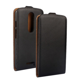 Wholesale Vertical Flip Wallet Case - Wholeale High Quality Black Genuine Leather Flip Vertical Cover Case For Motorola Moto X Play Free
