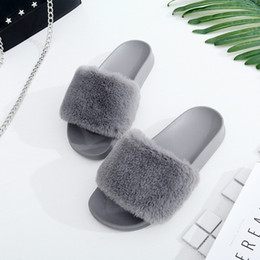 Wholesale Anti Skid Pvc - New Winter Indoor Slippers Plush Home Shoes Fashionable anti - skid - resistant flat - hair slippers lady shose