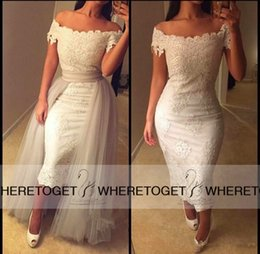 Wholesale Short Beige Evening Dress - Chic 2015 Tea-length Sheath Evening Dresses Off the Shoulder Beige Lace Custom 2016 Two Pieces Party Gowns with Detachable Tulle Over Skirt