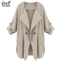 Wholesale Cheap Outerwear Women - Wholesale-2015 Fall New Style Cheap Sale Mujer Designer Outerwear Fashion Women Clothing Apricot Long Sleeve Pockets Trench Female Coat
