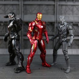 Wholesale Iron Man Anime - 11 Style 34CM Avengers Superhero doll toys Captain America Iron Man Black Panther Anime puppet action figures model PVC Joints can move B