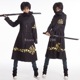 Wholesale Trafalgar Laws Coat - High Quality Trafalgar D Water Law Cosplay Long Coat Costume One Piece Cloak Capes For Women Free Shipping