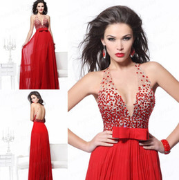 Wholesale Dark Red Charm Beads - Charming 2015 Evening Dresses Crystal Beads Formal Long Prom Gowns V Neck Backless Floor Length Chiffon Red Cheap Party Dresses 2016