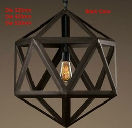 Wholesale Lighting Fixtures Cages - New 2015 Nordico Rustic Pendant Lights American Vintage Loft Cage Edison Hanging Lamp Iron Lampshade Decor Polyhedron Fixtures