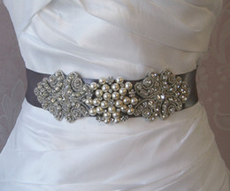 Wholesale Bridal Pearl Belt - Free Shipping Attractive Crystals Wedding Sashes Rhinestone Bridal Belts Bead Sash Pearls Belt Bridal Accessories