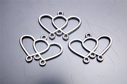 Wholesale Double Connector Charms - 300pieces 22mm Double Heart Lover Pendant 7034 Charms Beads Clasp Connector Plated Silver DIY Jewelry Necklace infinity Bracelets Earring