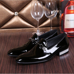 Wholesale New Style Shoes For Mens - Plus Size 39-4 2017 New Mens Shoes Genuine Leather Fashion Business Style Patent Leather Dress Wedding Shoes for Men