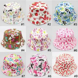 Wholesale Colorful Bucket Hats - Hot Sale Baby Cartoon printed flower hat girls cap infant sun hat Colorful Baby Bucket hats canvas children beanie 24 design available