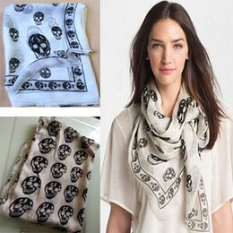 Wholesale Big White Head - New Fashion Womens Girl Big Skull Head Skeleton Soft Shawl Scarf Wrap Stole