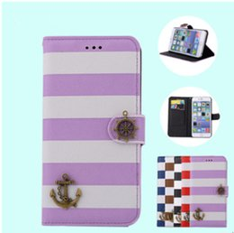 Wholesale Iphone4s Covers Leather - Fashion stripe Pirate Ship PU flip wallet card slot leather Case Cover mobile phone cases with stand For iphone4S 4C iphone5S iphone6 6S i6