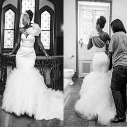 Wholesale High Low Sheer Waist - 2016 Mermaid Wedding Dresses Bridal Gowns One Shoulder Low Back Beaded Waist Ruffled Bottom Cathedral Cheap Wedding Gowns